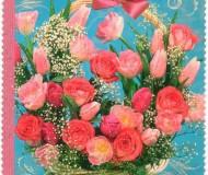 """Розы и тюльпаны в корзинке, надпись: """"С Днём Рождения!"""""""