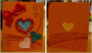 Открытка ручной работы: с сердечками и атласным красным бантиком