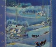 зимний сюжет с домиками и санями