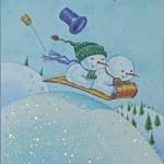 Снеговики на салазках