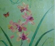 зелёный фон и цветок ириса отвлечёт от зимнего настроения